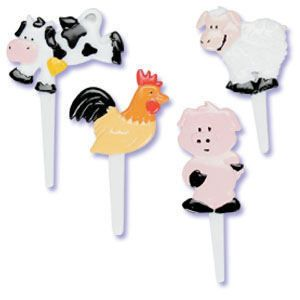 12 Farm Animals Cupcake Picks Cake Toppers Kids Party Favors Cows