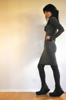 Owens Lilies Funnel Neck Tunica Knit Dress Sz 42 Damir DOMA