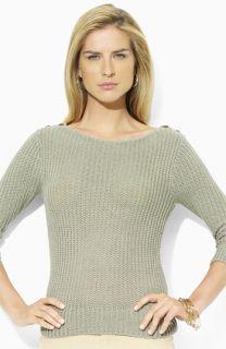 Lauren Ralph Lauren Boatneck Sweater with Button Trim (Petite)