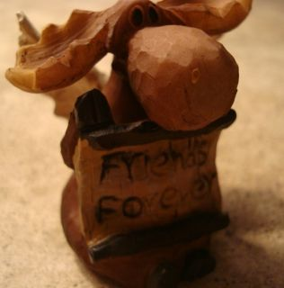 Adorable Wood Carved Moose Angel Rustic Log Cabin Lodge Home Decor New