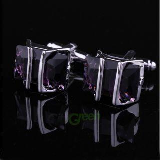 Elegant Mens Cufflinks Purple Crystal Cuff Links High Quality