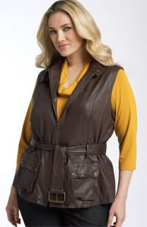 Kenneth Cole New York Belted Leather Vest (Plus)