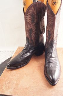 Dan Post Brown Black Leather 12 D Mens Western Boots