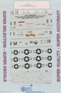 Decals P 51D Aces Preddy 352nd FG Crenshaw Mejaski 359th FG
