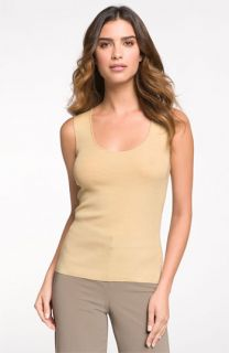 St. John Collection Scoop Neck Ribbed Shell
