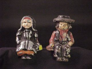 Antique Painted Cast Iron Amish Mennonite Figurine Doll Man and Woman