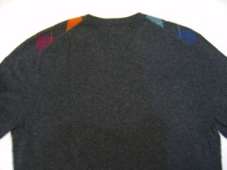 Daniel Cremieux 100% Cashmere Sweater Mens Argyle XL Gray Navy Blue