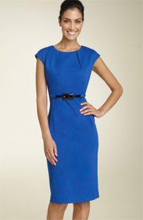 Calvin Klein Belted Ponte Knit Dress (Petite)