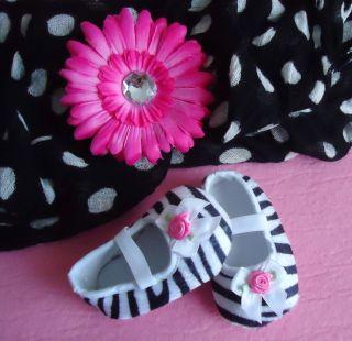 Baby Girls Ballerina slippers Crib Shoes Zebra Print 6 9 months