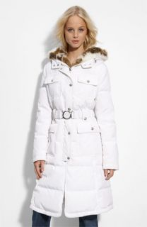 Laundry by Shelli Segal Faux Fur Trim Quilted Coat