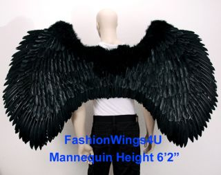 XXXL Black Super Large Feather Angel Wings Gothic Archangel Devil Jin