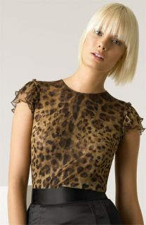 Dolce&Gabbana Leopard Print Silk Tulle Blouse