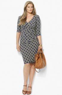 Lauren Ralph Lauren Surplice Matte Jersey Sheath Dress (Plus)