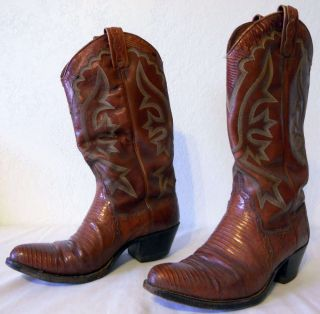 Dan Post Peanut Butter Brittle Tegu Lizard Cowboy Western Boots Size 8