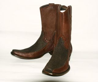 255 Mens Black Shark Skin Brown Leather Fashion Western Boot Corral