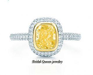 Fancy Yellow Cushion Cut VVS2 Certified GIA Diamond Engagement 18K