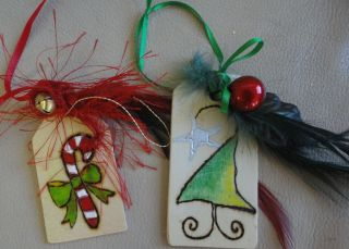 Custom Wood Handcrafted Xmas Ornaments candy cane tree gift tags