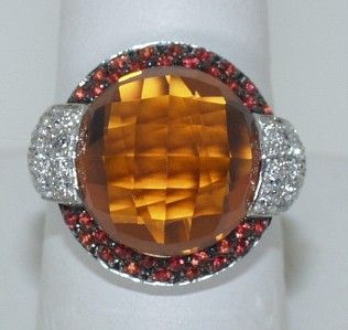 CRIVELLI 18 KT. WHITE GOLD DIAMOND SAPPHIRE AND CITRINE RING