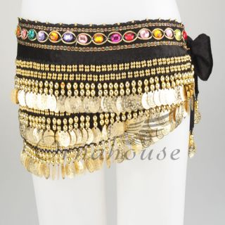 Belly Dance Dancing Hip Scarf Belt Velvet Gold Coins One Row Diamond