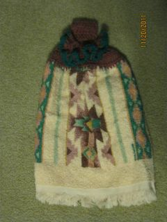 Plum Turquoise Peach Crochet Top Kitchen Towel Reversible Mothers Day