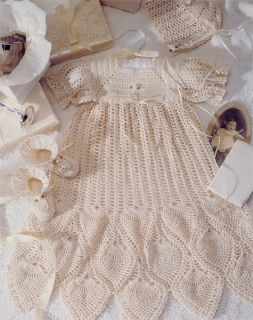Baby Gown Dress Bonnet Booties Crochet Pineapple Pattеrn NB