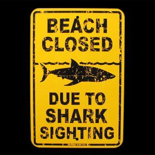 Shark Sighting Beach Closed Danger Sign Surfer Decor