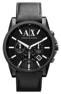 AX Armani Exchange Chronograph Leather Strap Watch