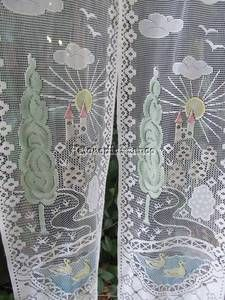 French Lace Curtains 2 White Window Door Panels Chateau Ducks 16 x 84
