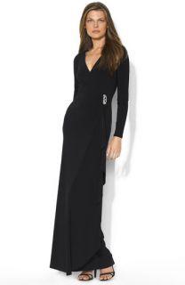Lauren by Ralph Lauren Pascha Faux Wrap Jersey Gown