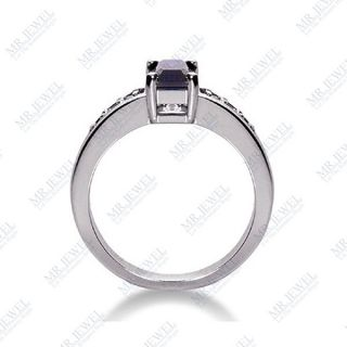 12 Ct Emerald Cut Sapphire and Diamond Ring 14k