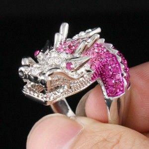 Silver Tone Cute Dragon Cocktail Ring Size 8# W/ Pink Rhinestone