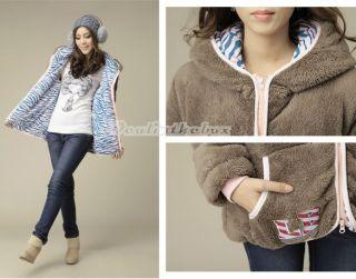 D0X8 Cute Design Womens Ladies Rabbit Fuzzy Thicken Fleeces Hoodie