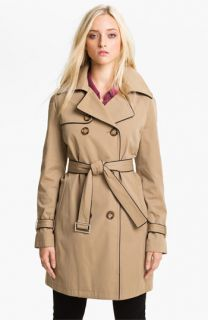 MICHAEL Michael Kors Piped Trench Coat with Detachable Liner