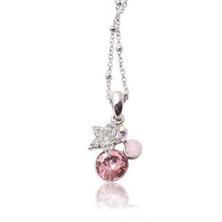 Gold GP Necklace Pink Swarovski Crystal Lovely Star Pendants