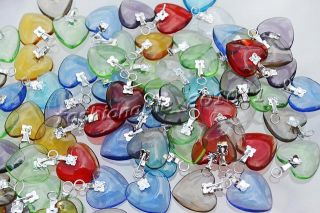 100pcs crystal murano glass heart silver p beads pendants jewelry