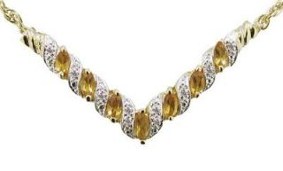 CT MARQUIS CUT NATURAL CITRINE & DIAMOND NECKLACE