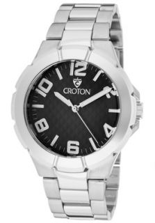 Croton Watch CN207383SSBK Mens Black Textured Dial Stainless Steel
