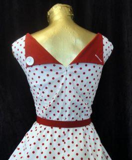 Retro 50s Pinup Sailor Red White Polka Dot Full Skirted Party Dress XL