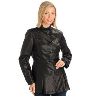 Judy Crowell Cut Seams Pleat Detail Jacket Black Womens Plus Size 3X