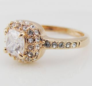14 Carat CZ Swarovski Crystal Gold GP Ring Engagement Wedding All