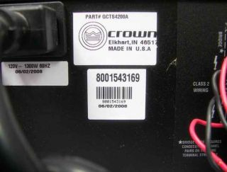 Harman Crown Audio CS4200 4 Channel Rack Power Amplifier 180W