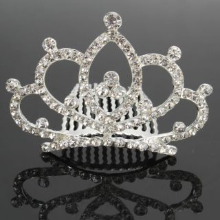 New Heart Style Rhinestone Crown Hair Comb Pin 03 Fashion Wedding