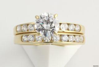 CZ Cubic Zirconia Round Engagement Ring Wedding Band Set 14k Yellow
