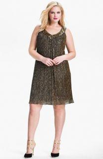 Donna Ricco Sequin Metallic Trapeze Dress (Plus)