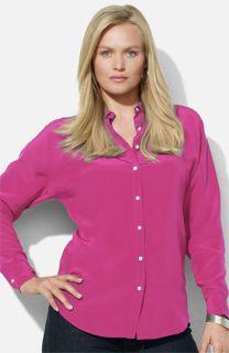 Lauren Ralph Lauren Dolman Sleeve Silk Blouse (Plus)