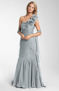 Veni Infantino Pleated One Shoulder Ruffle Gown