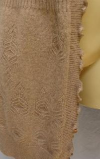 Cynthia Rowley 100 Cashmere Drape Open Front Cardigan Sweater Beige