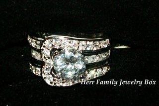 White Gold 925 Sterling Silver CZ Insert Engagement Ring Wedding Set