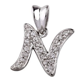 New Women Men 925 Sterling Silver CZ Initial Letter N Pendants
