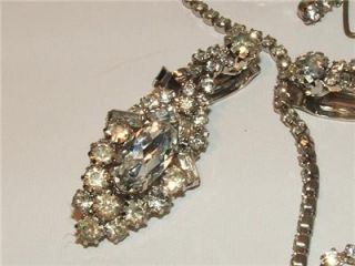 Vintage Juliana Style Rhinestone Necklace and Chandelier Earrings Set
